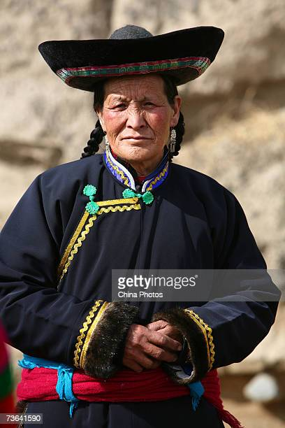 A villager attends a ceremony to worship the Erlang God at the Dazhuang Village on March 20 2007 in Huzhu County of Qinghai Province China The...