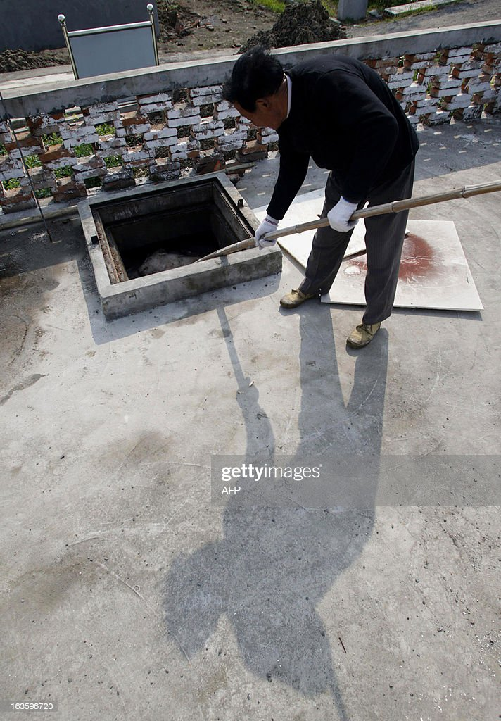 A villager dumps dead pigs into a decontamination storage built on a farmland in a town in Jiaxing municipality, east China's Zhejiang province on March 13, 2013. The number of dead pigs found in Shanghai's main river has doubled in two days to nearly 6,000, the government said, as residents worried over the water supply questioned the handling of the incident. Shanghai has pointed the finger at Jiaxing in the neighbouring province of Zhejiang, a major centre for hog-raising, but officials from the area sought to deny it was the source. CHINA