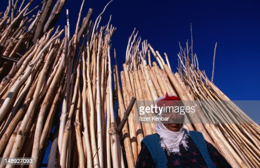 Villager selling timber at the Wood Market, Van