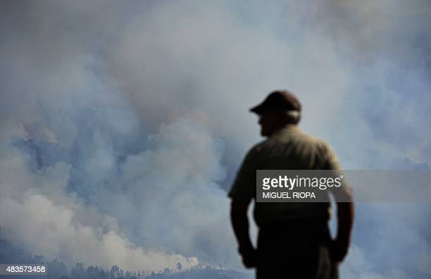 A villager watches as smoke from a wildfire rises next the village of Cobas close Vilanova de Cerveira northern Portugal on August 10 2015 Nearly...
