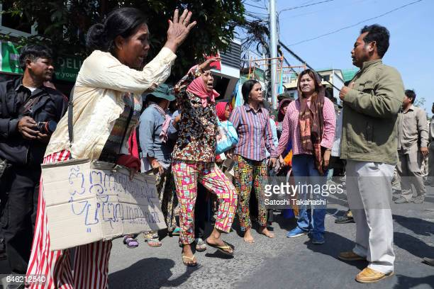 Villagers from Koh Kong province protest against security guard during a demonstration to demand the governments intervention relating to their long...