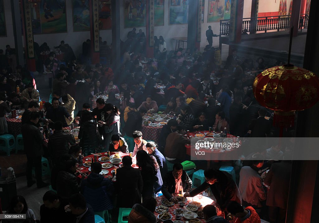 Villagers gather for meals to celebrate Spring Festival on first day of new Year of Monkey at Sujiadian Village of Cangnan County on February 9, 2016 in Wenzhou, Zhejiang Province of China. Chinese people celebrate the Spring Festival for the new Year of Monkey, which fell on February 8 according to Chinese calendar.