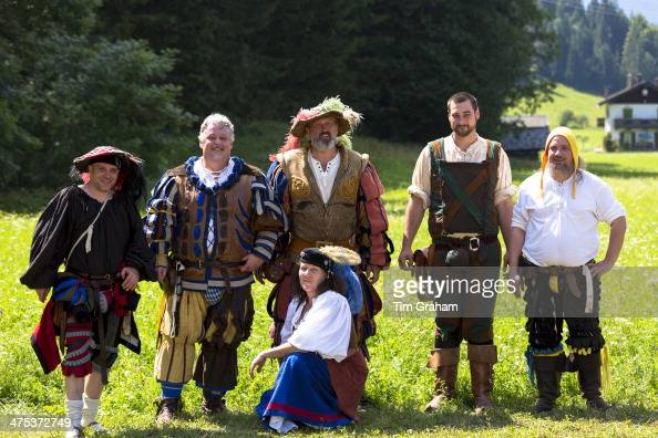 Villagers in costume at beer festival in the village of Klais in Bavaria Germany