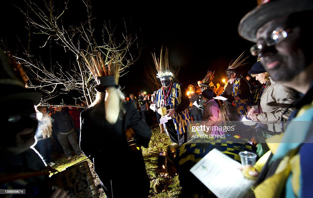 Villagers join the Hook Eagle Morris Men in the orchard during the annual Wassail night in Hartley Wintney, 40 miles (64 Kilometers) west of London, on January 4, 2013. The event, held near to twelfth night, celebrates both the passing of Christmas and the future good health of the fruit trees. Traditionally the custom involved the local farm workers visiting the orchard after dark with shotguns, horns, food and a large pail of cider. They would make a loud noise to raise the Sleeping Tree Spirit and to scare off demons. Cider would be poured over the roots and pieces of toast placed in the branches as a gift to the spirit of the tree. The wassail song is sung as a blessing or charm to bring fruitfulness or even in admonishment not to fail in the upcoming year.