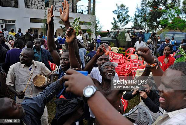 Villagers of the hamlet of Kogelo in western Kenya dance in celebration following mediaannouncements of the reelection of USA's President Barack...