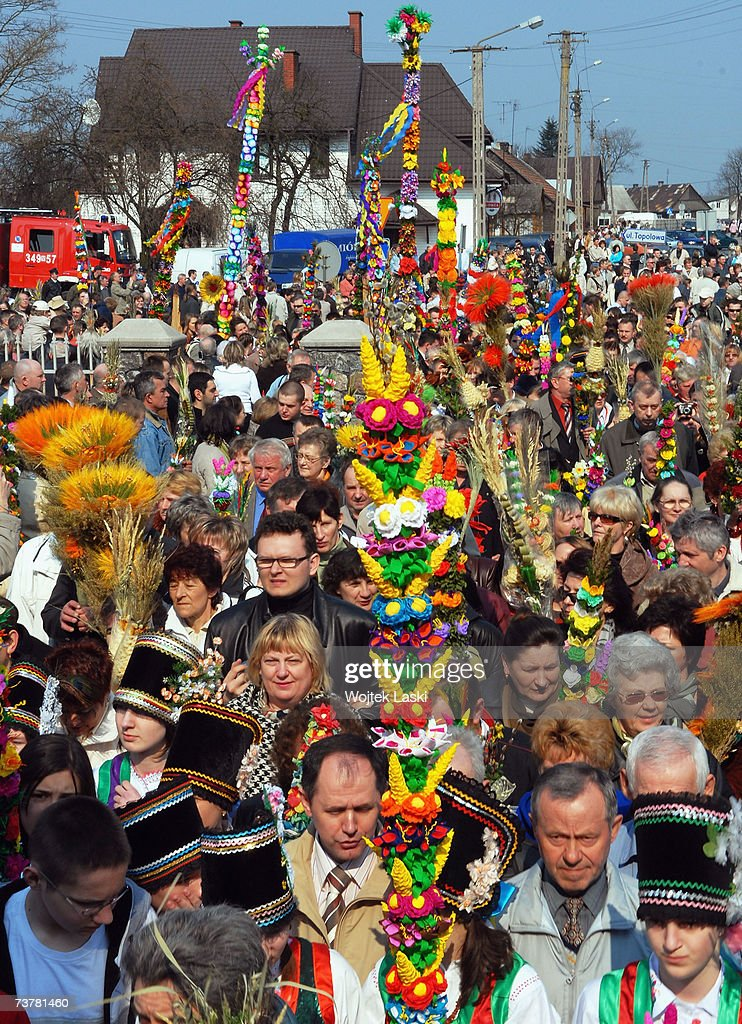 Villagers participate in a Palm Sunday procession between old and new village churches on April 1, 2007 in Lyse, Poland. The procession followed the 38th Annual competition to judge the most beautiful Easter Palm, celebrating the entry of Jesus into Jerusalem and the beginning of Holy Week for Christians.