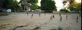 Villagers playing football at dusk in the village of Jaguarari on the banks of the Tapajos river The Floresta Nacional do Tapajos a 6500 km2...