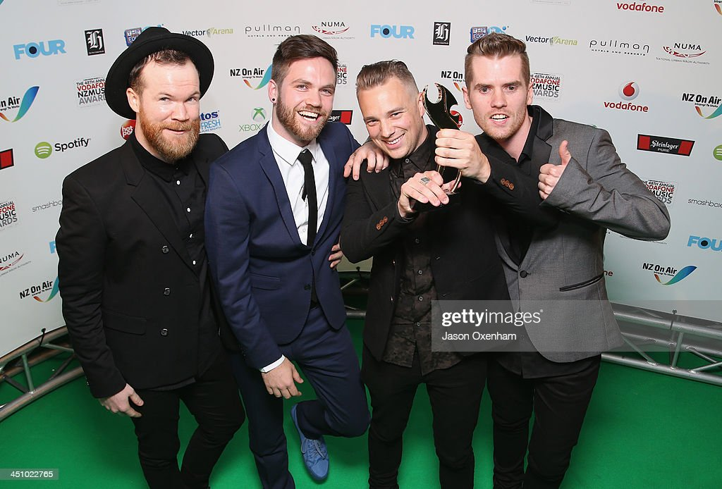 Villainy poses with the award for best rock album during the New Zealand Music Awards at XXX on November 21, 2013 in Auckland, New Zealand.