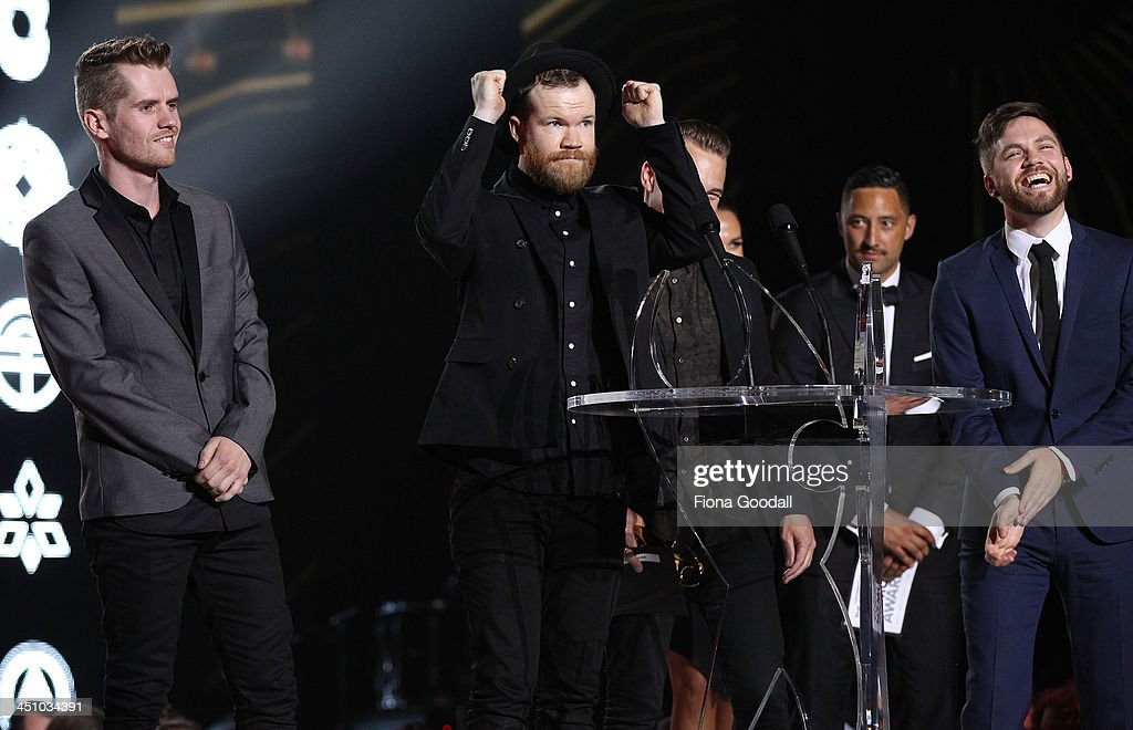 Villainy win the best rock album during the New Zealand Music Awards at Vextor Arena on November 21, 2013 in Auckland, New Zealand.