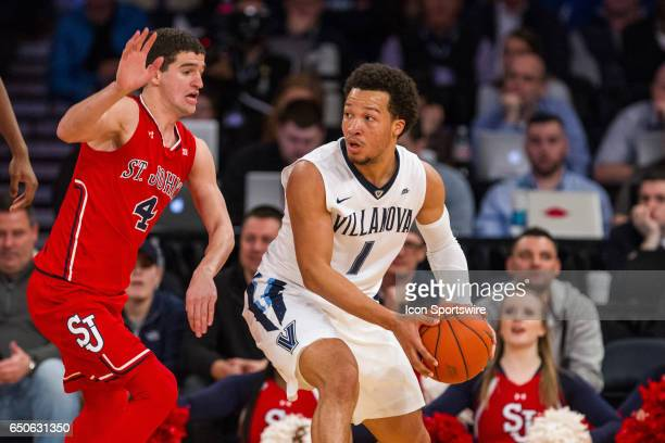 Villanova Guard Jalen Brunson works around St John Guard Federico Mussini during the quarterfinals of the BigEast Conference basketball tournament...
