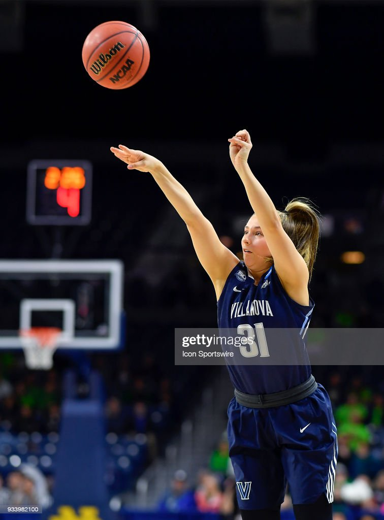 Villanova Wildcats' Adrianna Hahn (31) shoots a three pointer against the Notre Dame Fighting Irish during the second round of the Division I Women's Championship on March 18, 2018 in South Bend, Indiana.