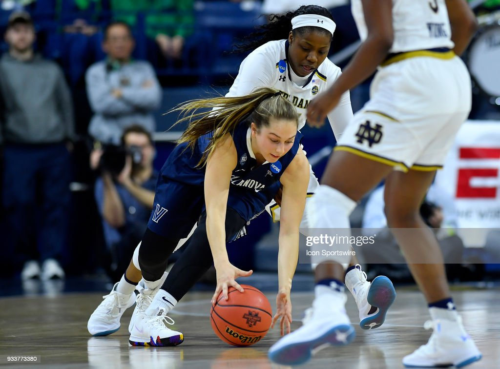 Villanova Wildcats' Adrianna Hahn (31) steals the basketball against the Notre Dame Fighting Irish during the second round of the Division I Women's Championship on March 18, 2018 in South Bend, Indiana.