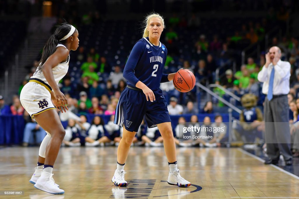 Villanova Wildcats' Alex Louin (2) handles the ball against Notre Dame Fighting Irish's Jackie Young (5) during the second round of the Division I Women's Championship on March 18, 2018 in South Bend, Indiana.