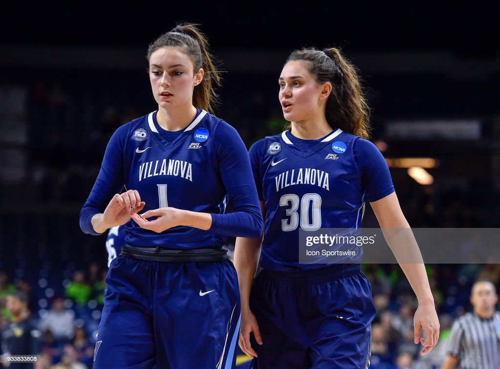 Villanova Wildcats' Bridget Herlihy (1) and Villanova Wildcats' Mary Gedaka (30) react during the second round of the Division I Women's Championship against the Notre Dame Fighting Irish on March 18, 2018 in South Bend, Indiana.