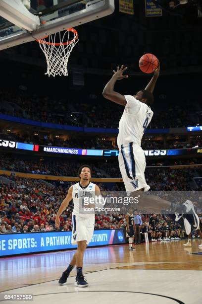 Villanova Wildcats forward Eric Paschall dunks during the NCAA Division I Men's Basketball Championship first round game between Mount St Mary's...