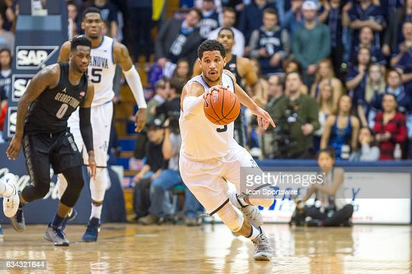 Villanova Wildcats guard Josh Hart charges toward the basket during the college basketball game between the Georgetown Hoyas and the Villanova...