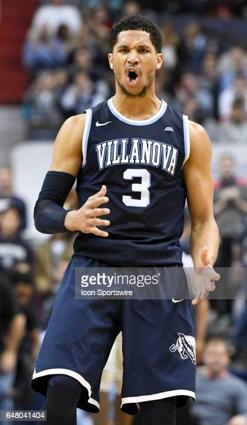 Villanova Wildcats guard Josh Hart reacts after making a three point basket against the Georgetown Hoyas on March 4 at the Verizon Center in...