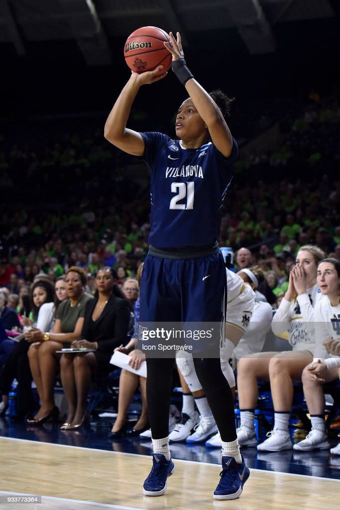 Villanova Wildcats' Jannah Tucker (21) shoots a three pointer against the Notre Dame Fighting Irish during the second round of the Division I Women's Championship on March 18, 2018 in South Bend, Indiana.