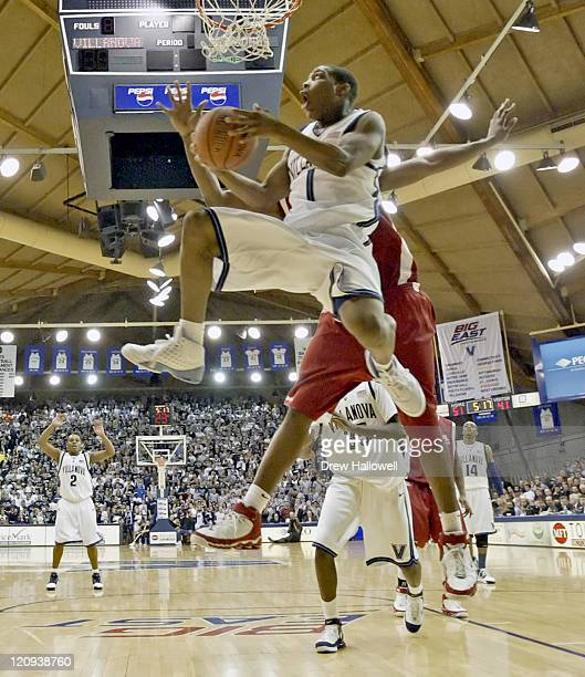 Villanova's Kyle Lowry goes up for a shot Wednesday March 1 2006 at The Pavilion in Villanova PA Villanova University defeated St John's University...