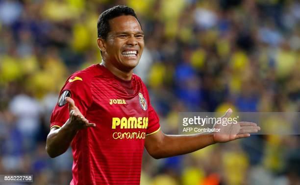 Villareal's Colombian forward Carlos Bacca reacts during the UEFA Europa League Group A football match between Maccabi Tel Aviv and Villarreal at the...