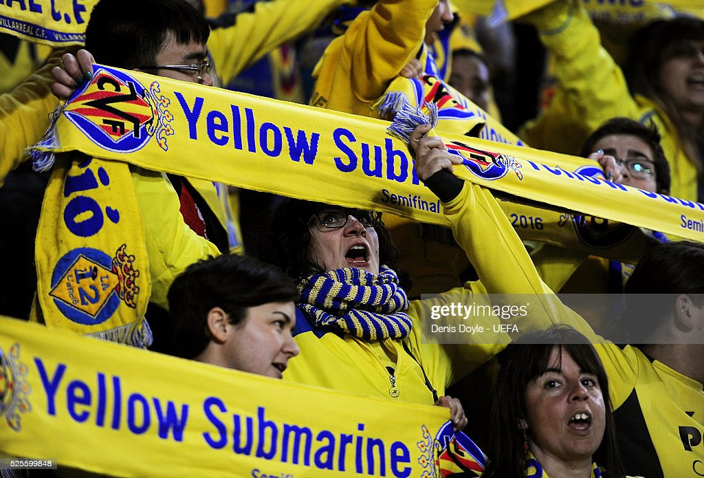 Villarreal CF fans cheer their team during the Europa League Semi Final first leg match between Villarreal CF and Liverpool at El M drigal stadium on April 28, 2016 in Villarreal, Spain.