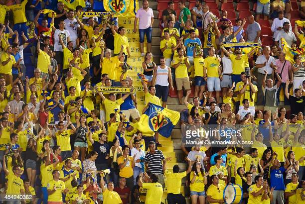Villarreal CF fans gives support to their team during the la Liga match between Levante UD and Villarreal CF at Ciutat de Valencia on August 24 2014...