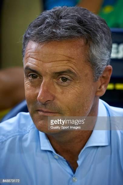 Villarreal CF manager Fran Escriba looks on prior the La Liga match between Villarreal CF and Real Betis at Estadio de la Ceramica on September 10...