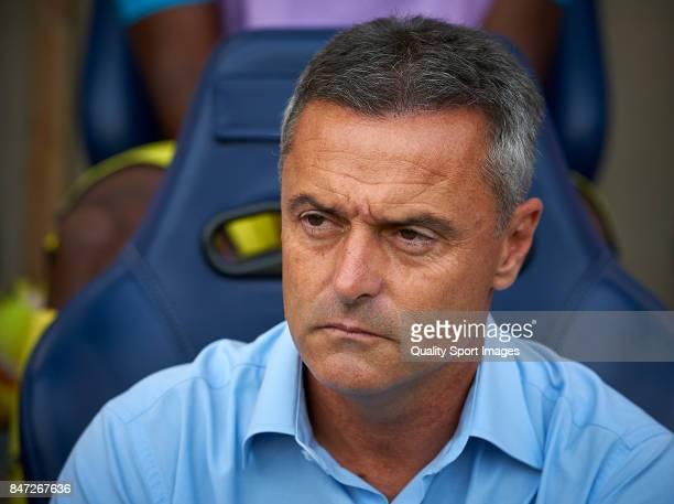 Villarreal CF manager Fran Escriba looks on prior the UEFA Europa League group A match between Villarreal CF and FK Astana at Estadio de la Ceramica...