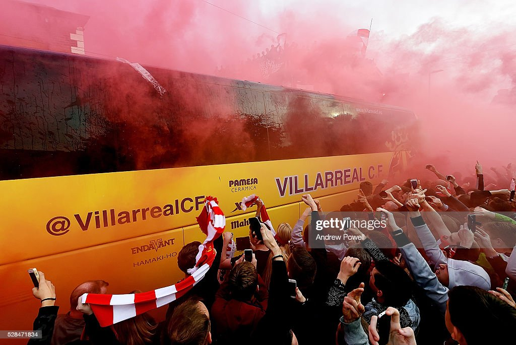 Villarreal CF team coach arrives before the UEFA Europa League Semi Final: Second Leg match between Liverpool and Villarreal CF at Anfield on May 05, 2016 in Liverpool, England.