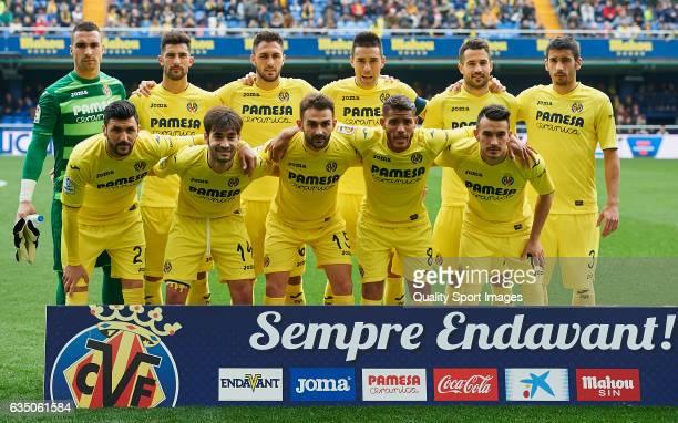 Villarreal CF team line up during the La Liga match between Villarreal CF and Malaga CF at Estadio de la Ceramica on February 12 2017 in Valencia...