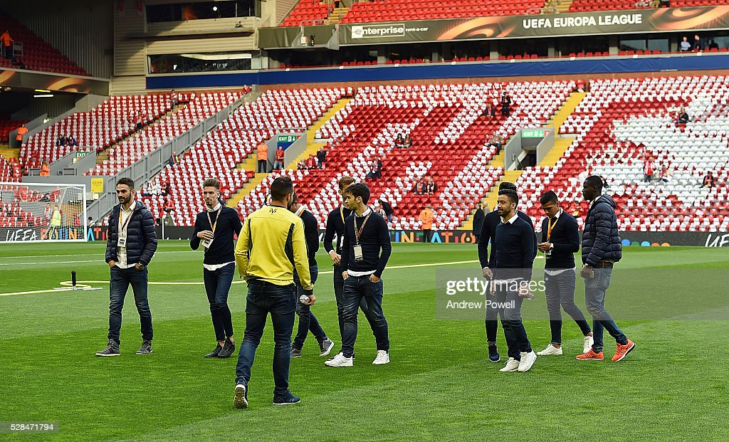 Villarreal CF team look at the pitch before the UEFA Europa League Semi Final: Second Leg match between Liverpool and Villarreal CF at Anfield on May 05, 2016 in Liverpool, England.