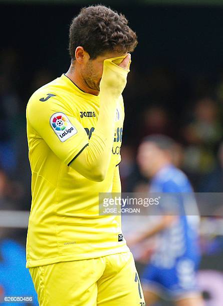 Villarreal's Brazilian forward Alexandre Rodrigues 'Pato' gestures after missing an attempt on goal during the Spanish league football match...