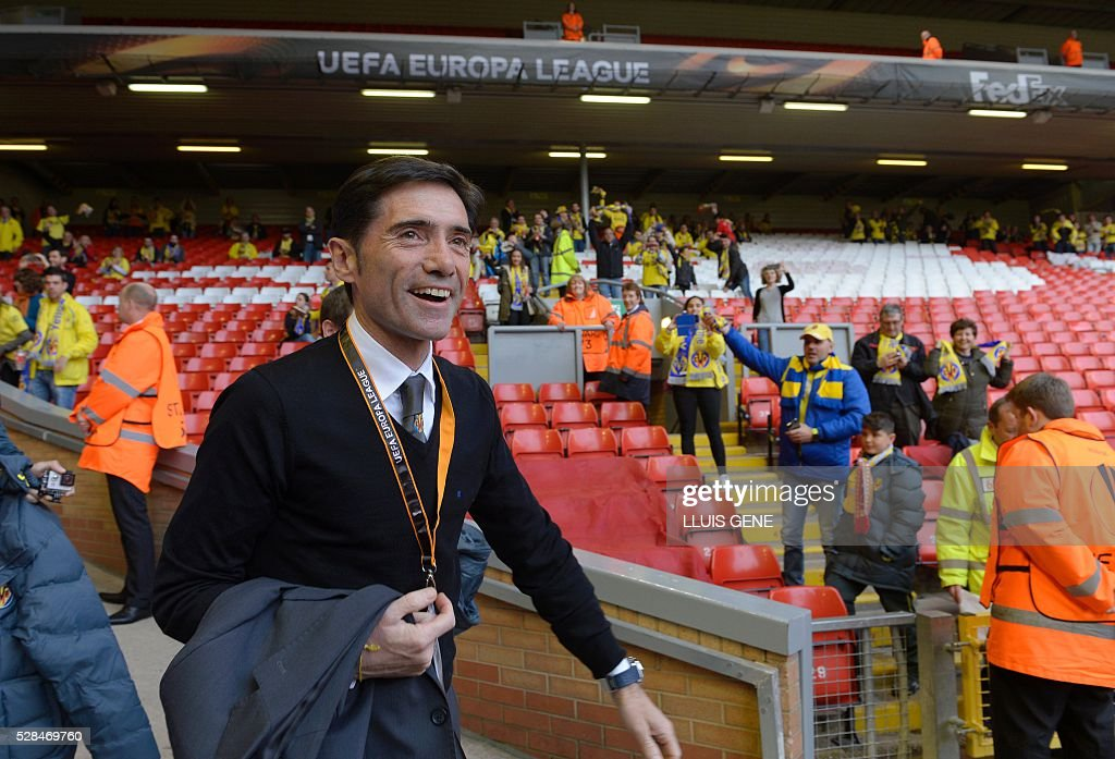 Villarreal's coach Marcelino Garcia Toral arrives at the stadium ahead of the start of the UEFA Europa League semi-final second leg football match between Liverpool and Villarreal CF at Anfield in Liverpool, northwest England on May 5, 2016. / AFP / LLUIS