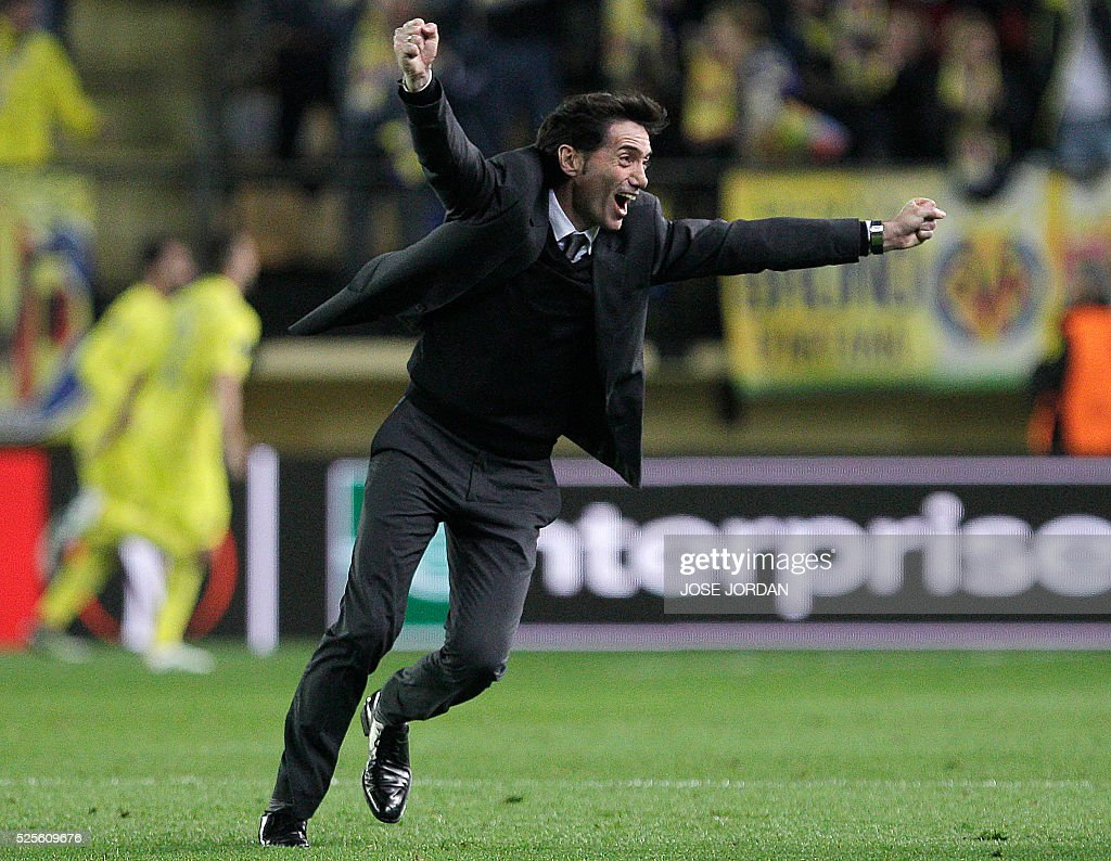Villarreal's coach Marcelino Garcia Toral celebrates a goal during the UEFA Europa League semifinals first leg football match Villarreal CF vs Liverpool FC at El Madrigal stadium in Vila-real on April 28, 2016. / AFP / JOSE