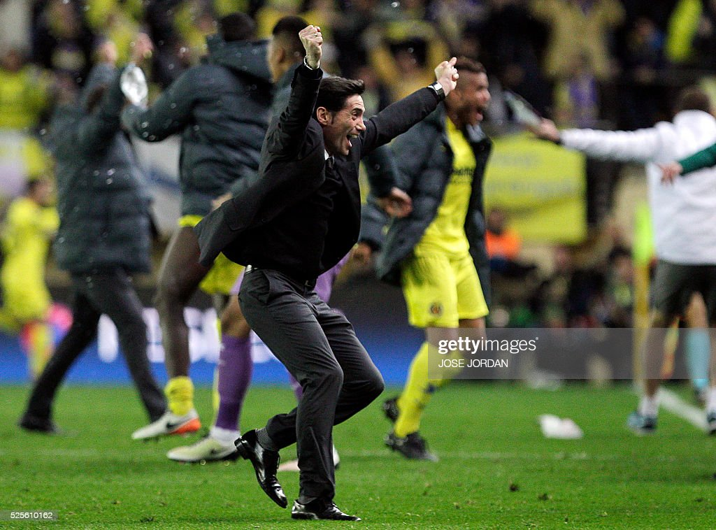 Villarreal's coach Marcelino Garcia Toral celebrates a goal during the UEFA Europa League semifinals first leg football match Villarreal CF vs Liverpool FC at El Madrigal stadium in Vila-real on April 28, 2016. / AFP / JOSE