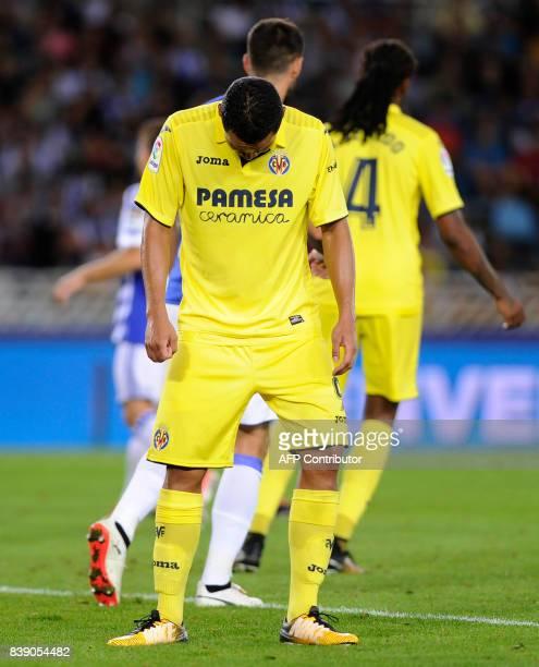 Villarreal's Colombian forward Carlos Bacca reacts during the Spanish league football match Real Sociedad vs Villarreal CF at the Anoeta stadium in...