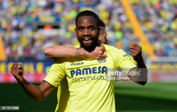 Villarreal's Congolese forward Cedric Bakambu celebrates after scoring during the Spanish league football match Villarreal CF vs Club Deportivo...