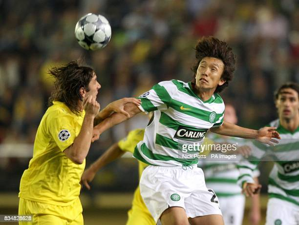 Villarreal's Diego Godin and Celtic's Shunsuke Nakamura battle for the ball
