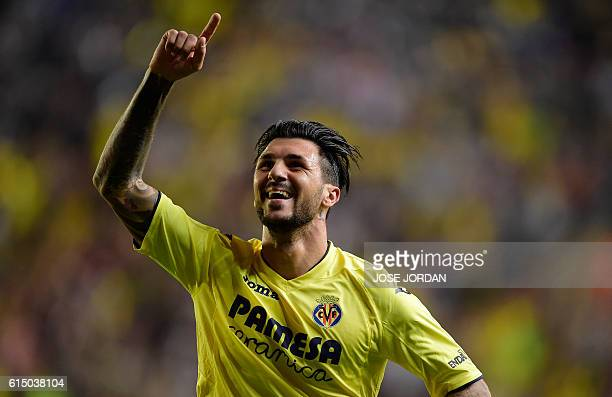 Villarreal's Italian midfielder Roberto Soriano celebrates after scoring his second goal during the Spanish league football match Villarreal CF vs RC...