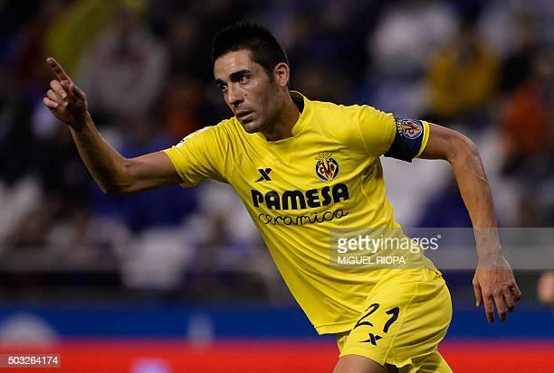 Villarreal's midfielder Bruno Soriano celebrates after scoring a goal during the Spanish league football match RC Deportivo de la Coruna vs...