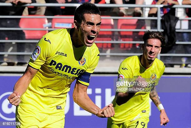 Villarreal's midfielder Bruno Soriano celebrates after scoring his team's first goal during the Spanish league football match between SD Eibar and...