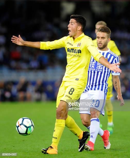 Villarreal's midfielder Pablo Fornals gestures during the Spanish league football match Real Sociedad vs Villarreal CF at the Anoeta stadium in San...