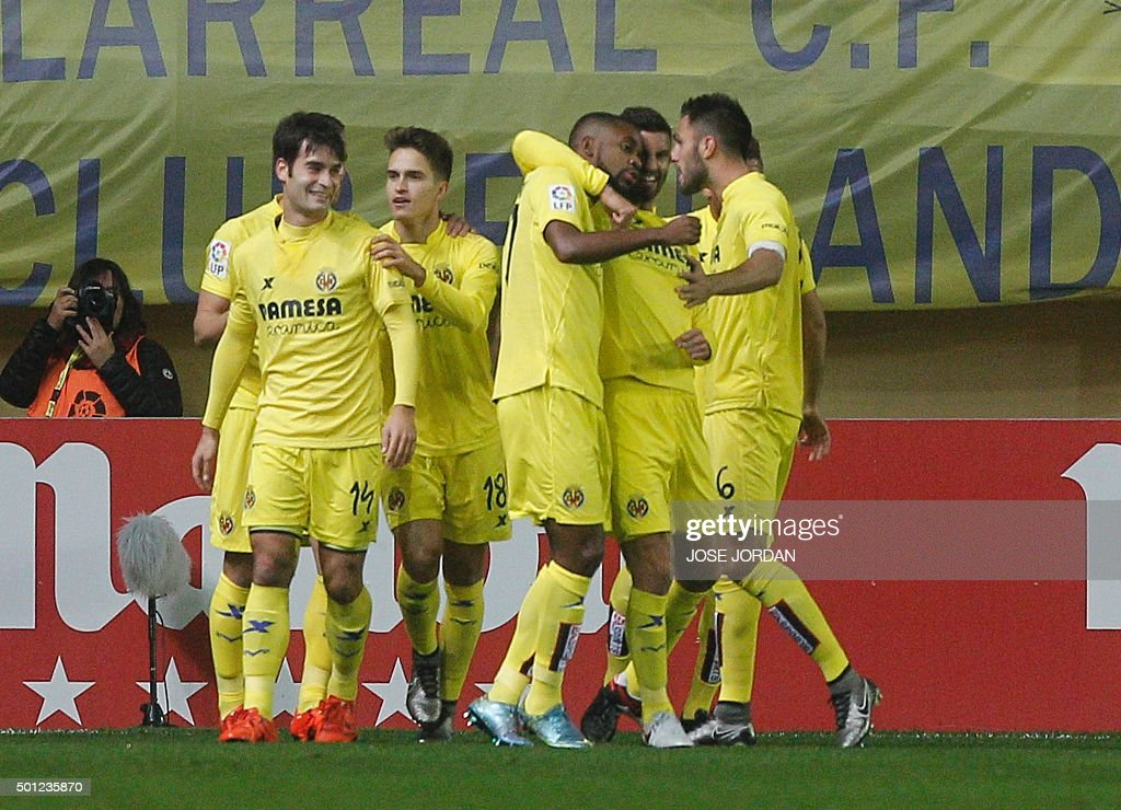 Villareal Spain  city photos : Villarreal's players celebrates their first goal during the Spanish ...