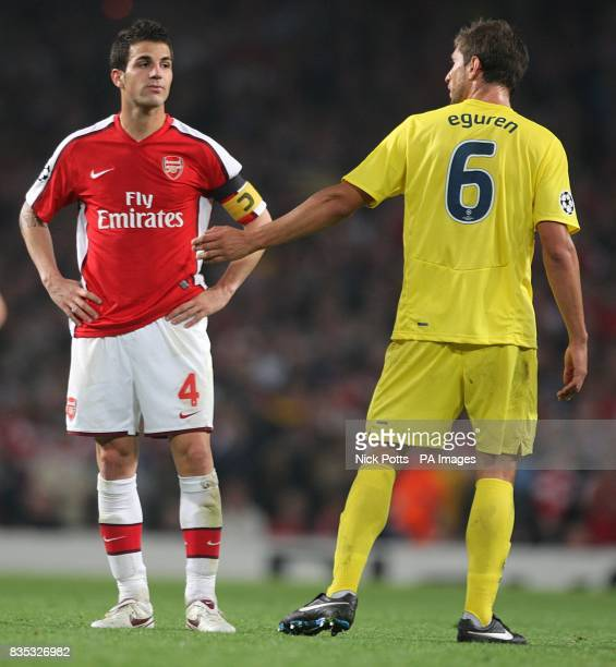Villarreal's Sebastian Eguren has words with Arsenal's Cesc Fabregas as he is sent off following a second bookable offence