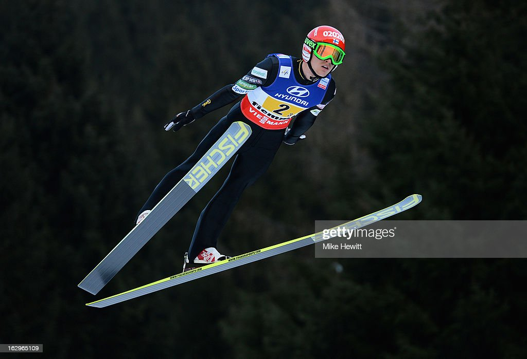 Ville Larinto of Finland in action during the Men's Ski Jumping Team HS134 at the FIS Nordic World Ski Championships on March 2, 2013 in Val di Fiemme, Italy.