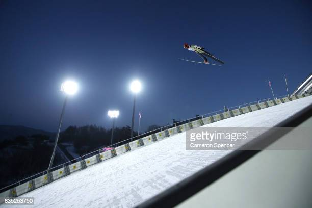 Ville Larinto of Finland jumps during trainining for the 2017 FIS Ski Jumping World Cup test event For PyeongChang 2018 at Alpensia Ski Jumping...
