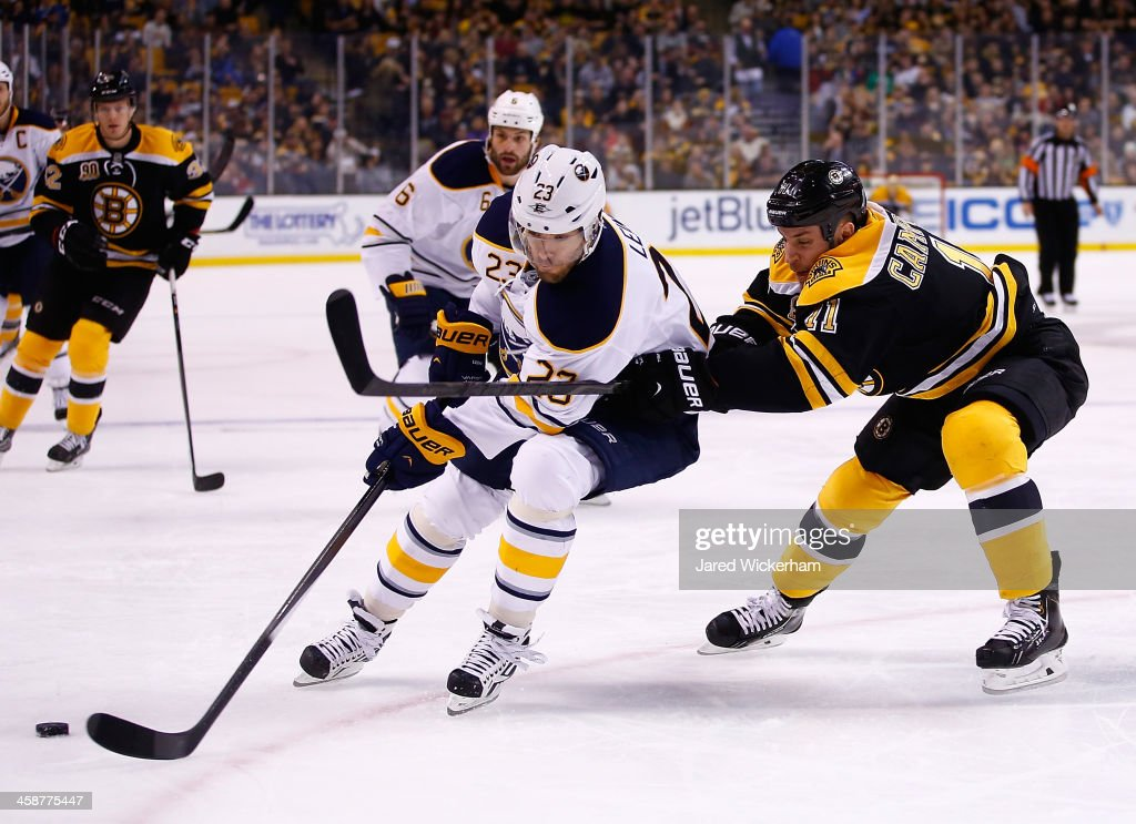 Ville Leino of the Buffalo Sabres passes the puck in front of Gregory Campbell of the Boston Bruins in the first period during the game at TD Garden...