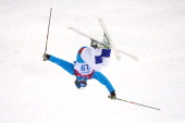 Ville Miettunen of Finland of Finland practices ahead of the Men's Moguls Qualification on day three of the Sochi 2014 Winter Olympics at Rosa Khutor...