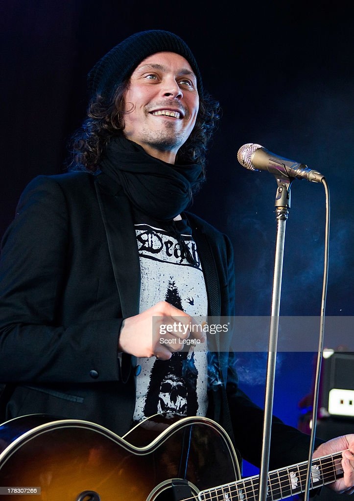 <a gi-track='captionPersonalityLinkClicked' href=/galleries/search?phrase=Ville+Valo&family=editorial&specificpeople=206810 ng-click='$event.stopPropagation()'>Ville Valo</a> of HIM performs during the Rock Allegiance Tour at Freedom Hill Amphitheater on August 28, 2013 in Sterling Heights, Michigan.