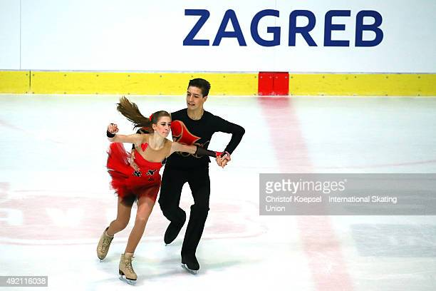 Villo Marton and Danyil Semko of Hungary skate during the junior ice short dance of the ISU Junior Grand Prix at Dom Sportova on October 10 2015 in...